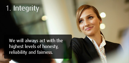 Integrity - We will always act with the highest levels of honesty, reliability and fairness.